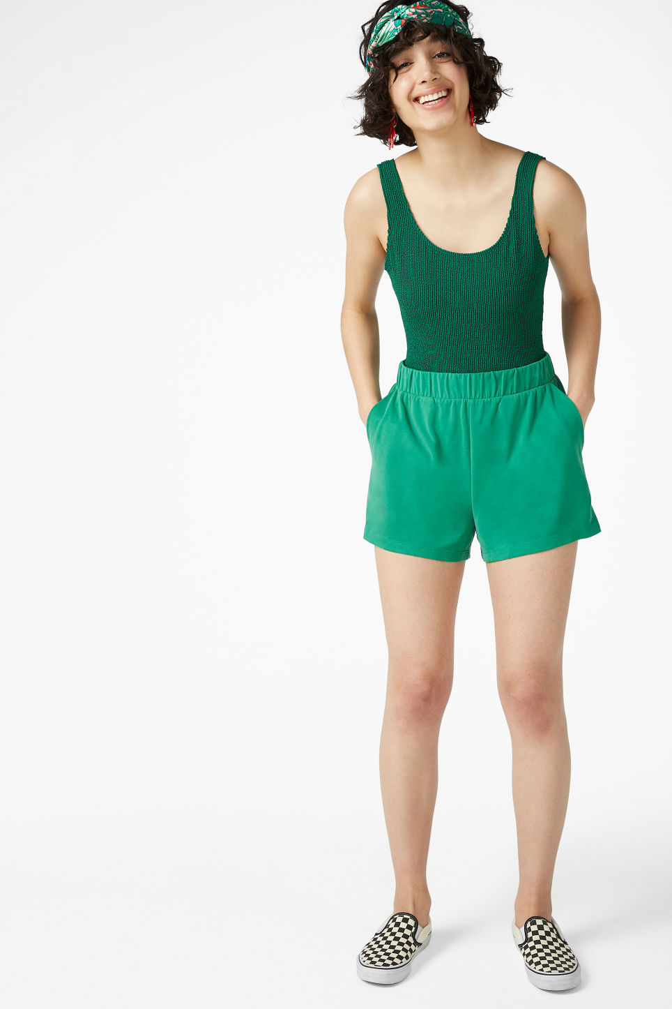 Model front image of Monki super-soft sporty shorts in green