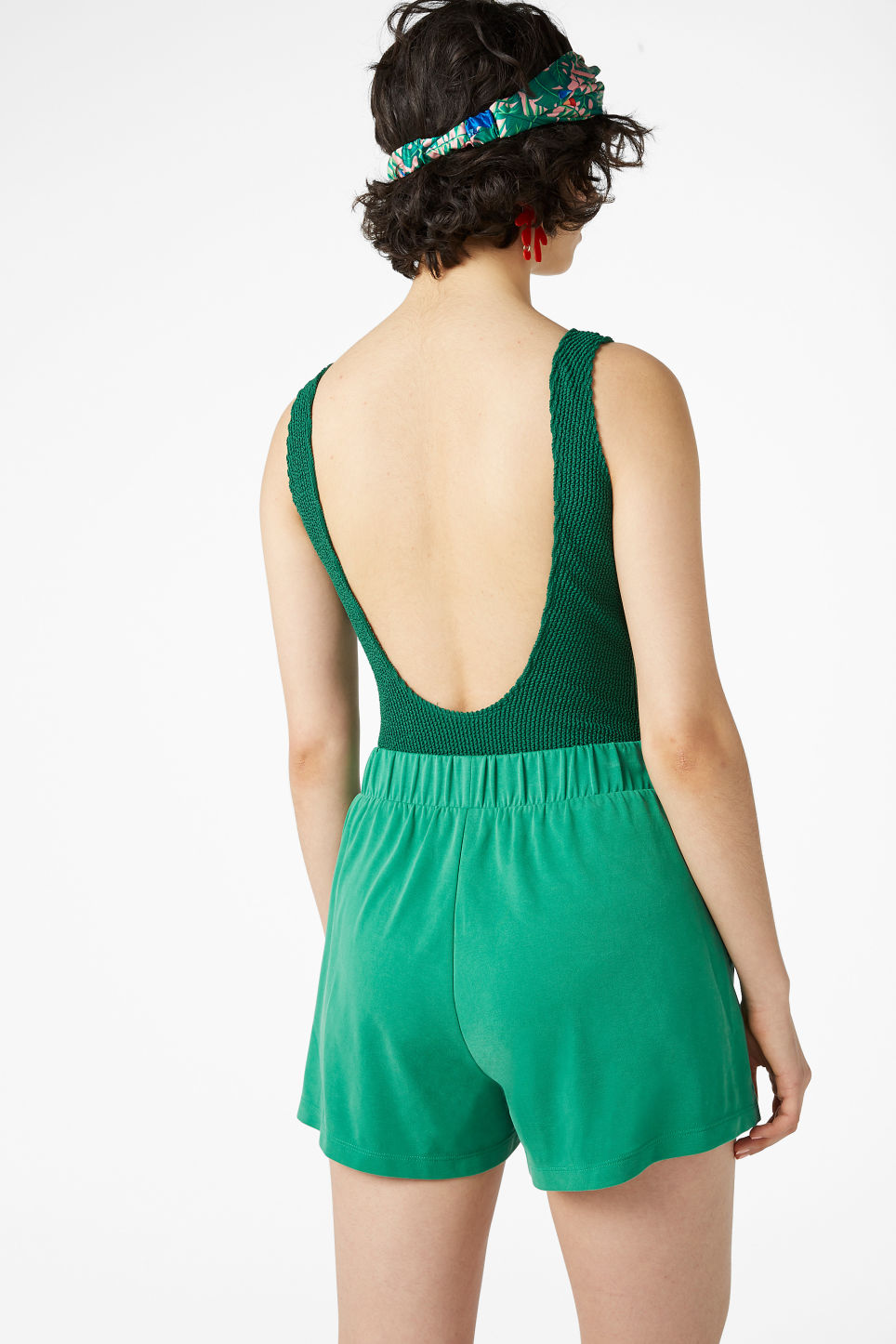 Model back image of Monki super-soft sporty shorts in green