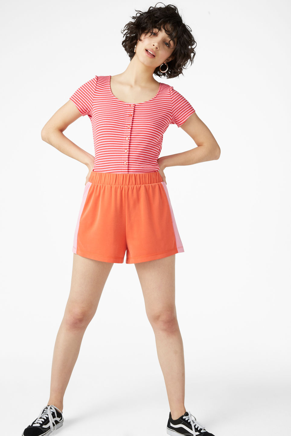 Model front image of Monki super-soft sporty shorts in orange