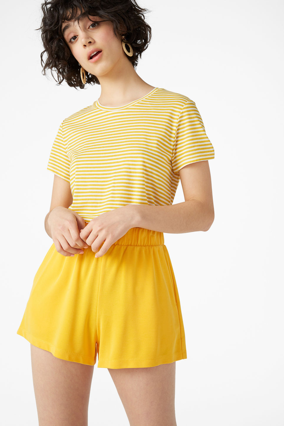 Model front image of Monki super-soft sporty shorts in yellow