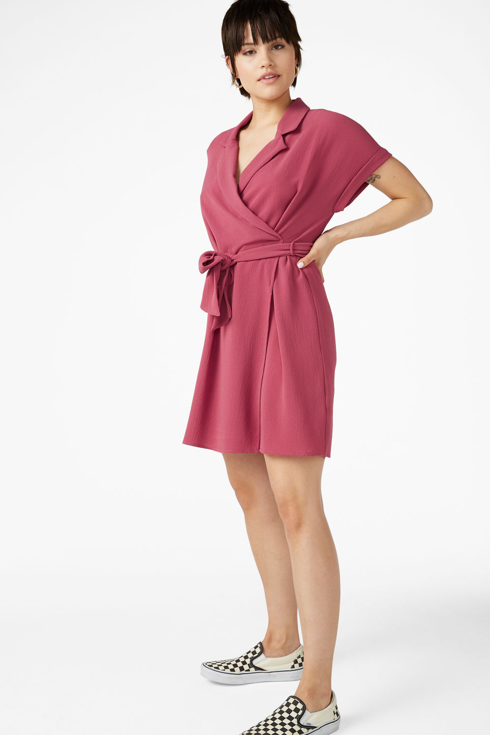 Model front image of Monki flowy wrap dress in pink