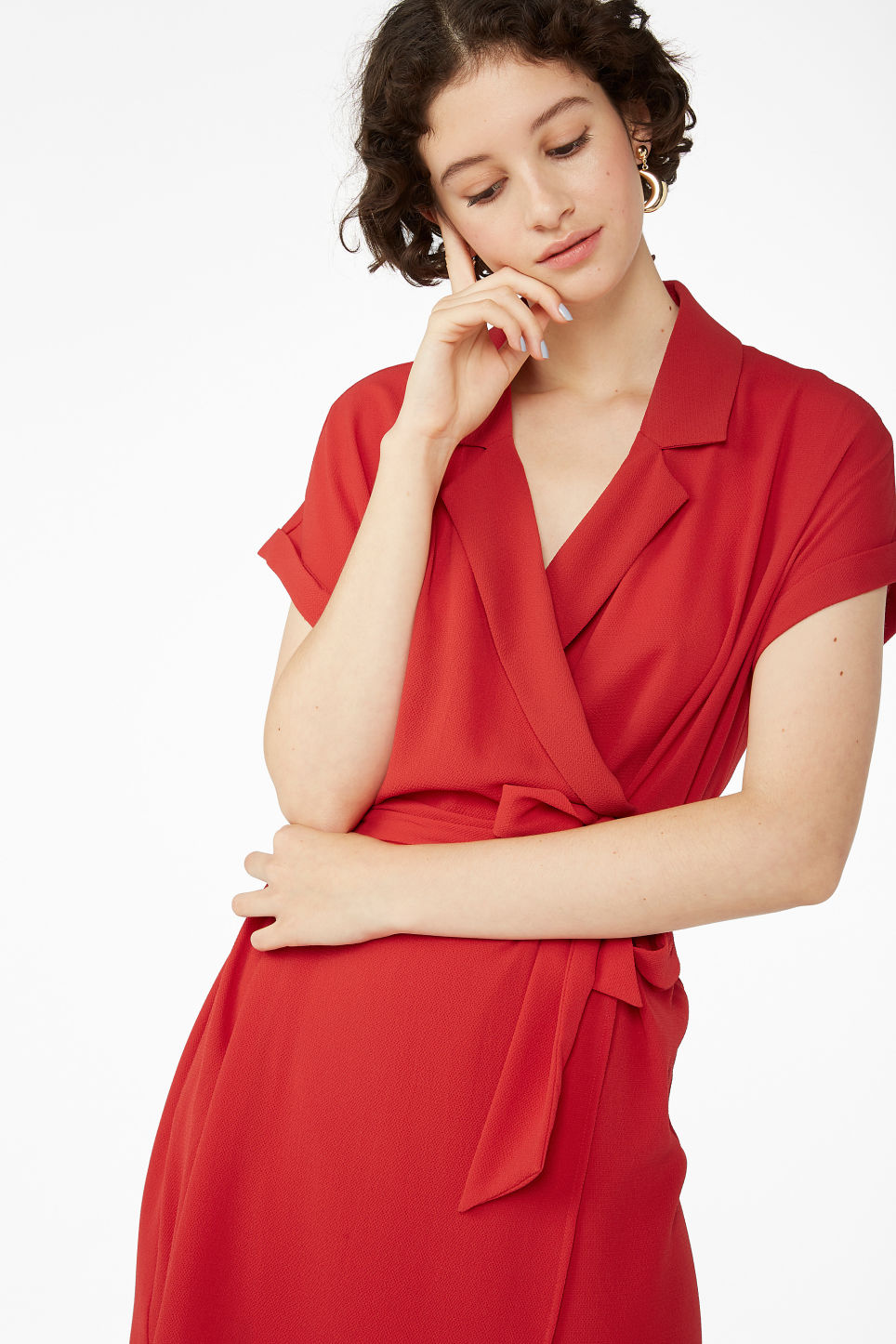Model front image of Monki short-sleeved wrap dress in red