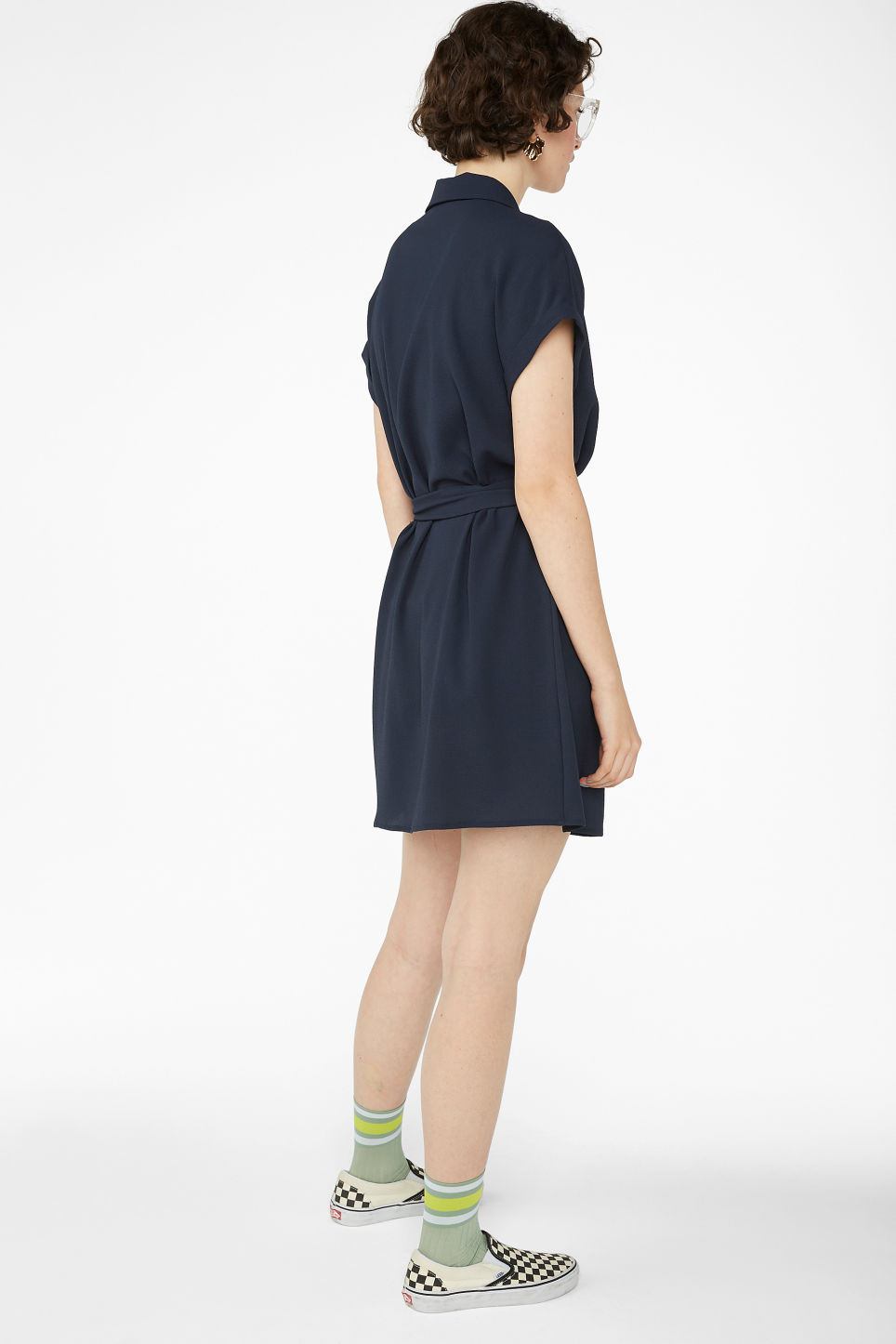 Model back image of Monki short-sleeved wrap dress in blue