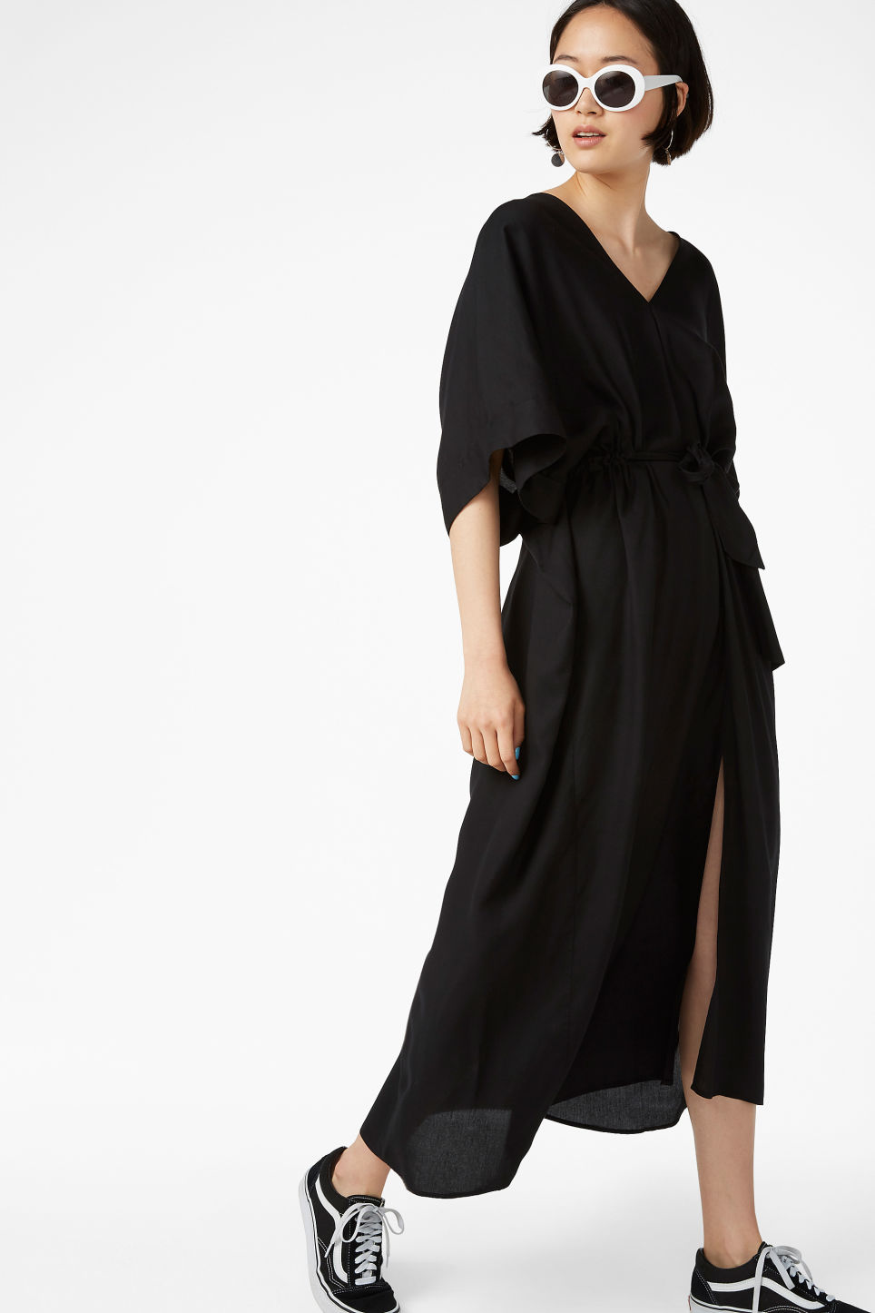 Model front image of Monki v-necked kaftan dress in black
