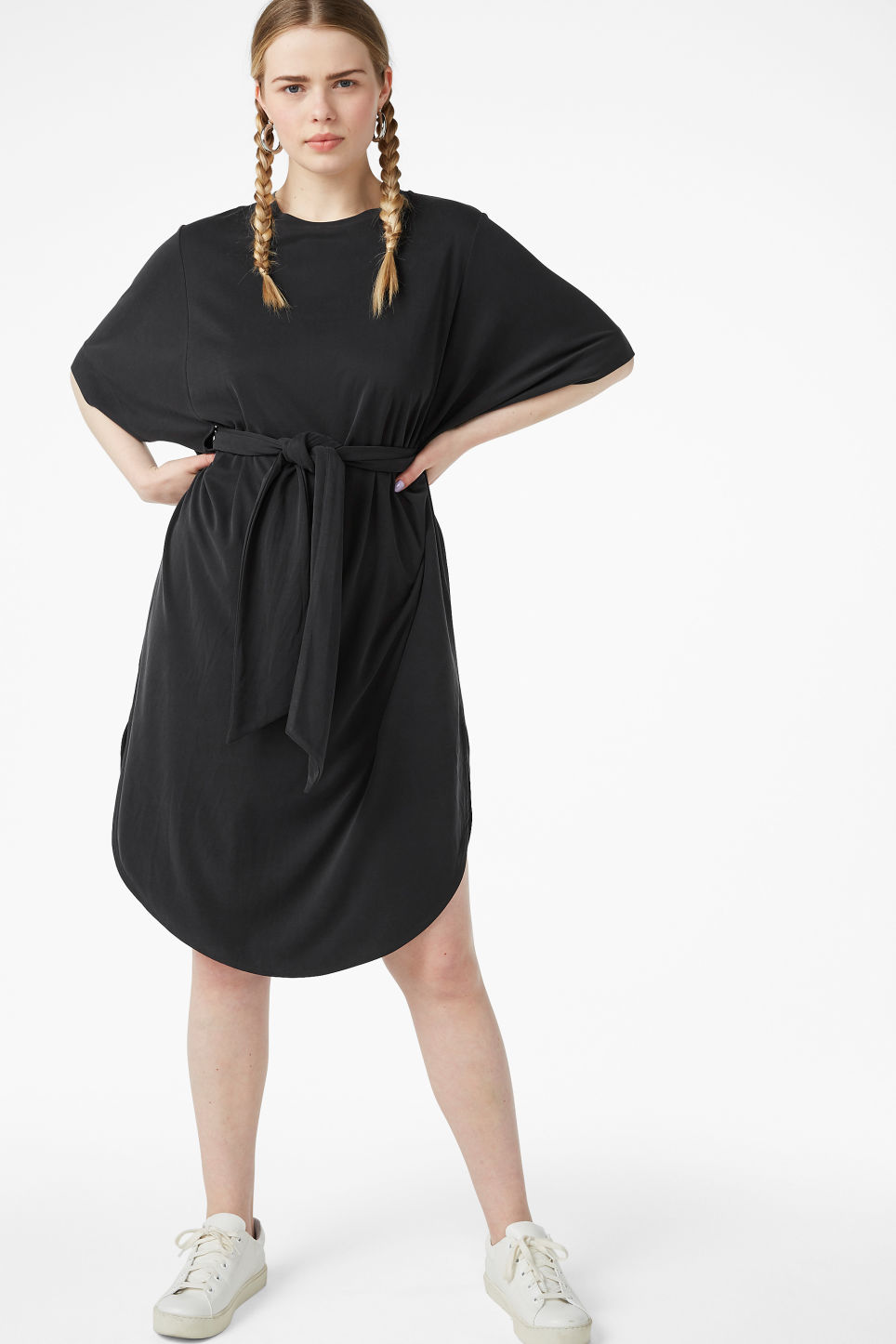 Model front image of Monki super-soft belted kaftan dress  in black