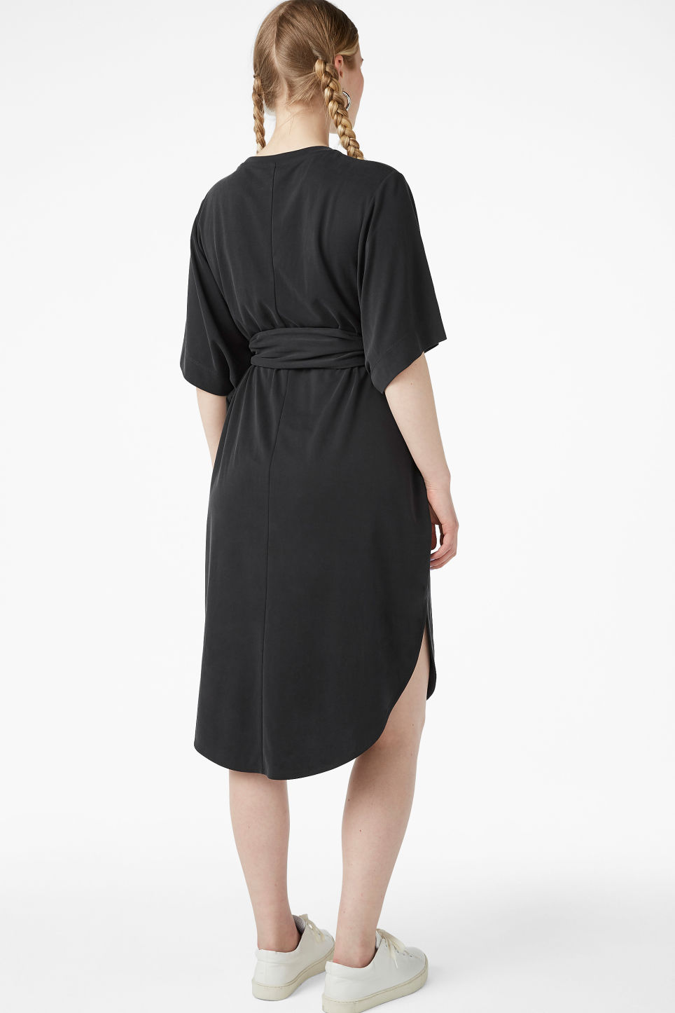 Model back image of Monki super-soft belted kaftan dress  in black