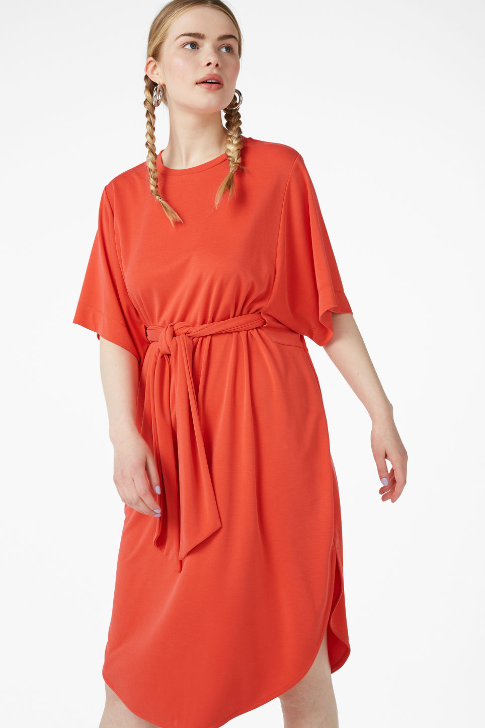 Model front image of Monki super-soft belted kaftan dress  in orange
