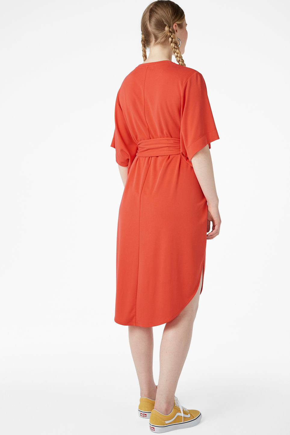 Model back image of Monki super-soft belted kaftan dress  in orange