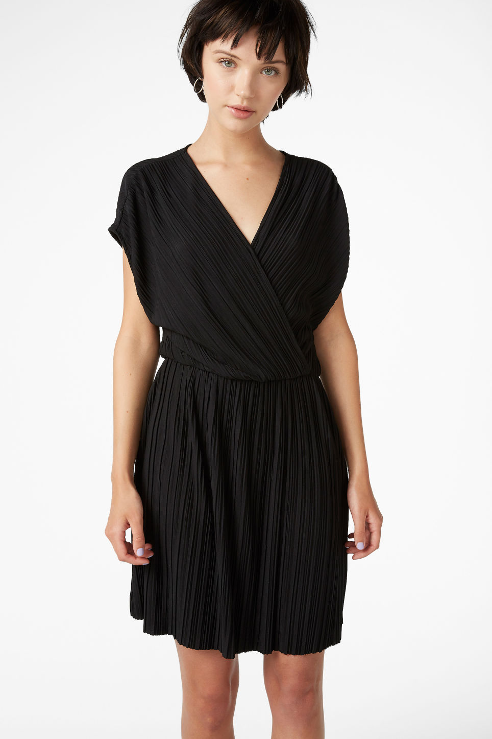 Model front image of Monki pleated wrap dress in black