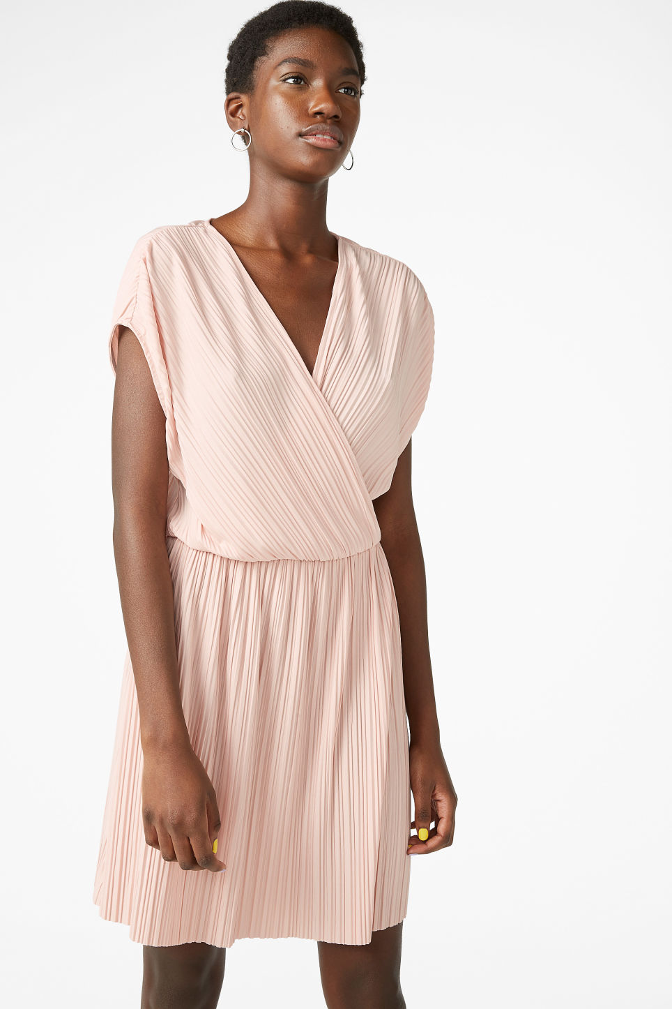 Model front image of Monki pleated wrap dress in orange