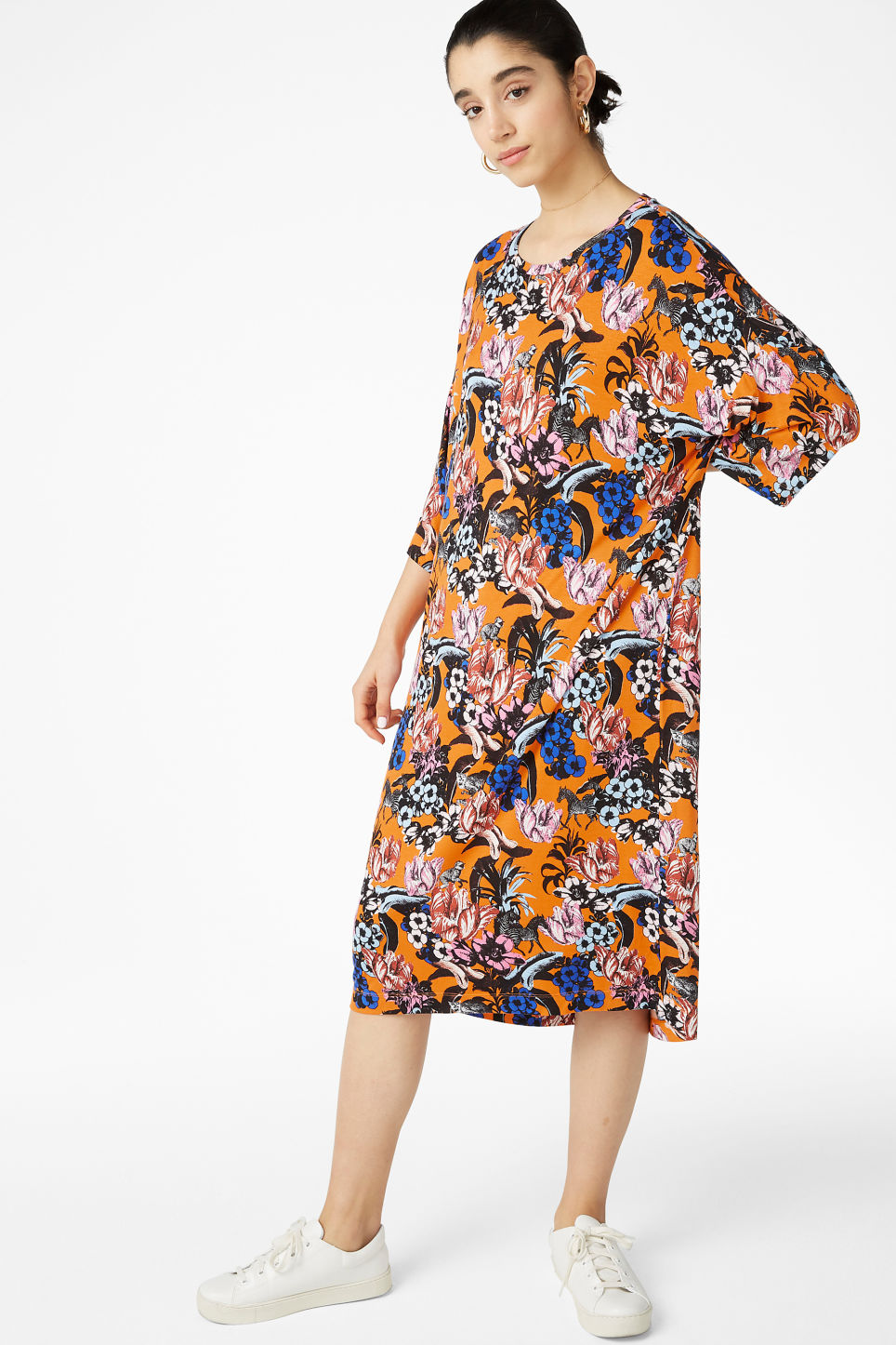 Model front image of Monki oversized t-shirt dress in orange