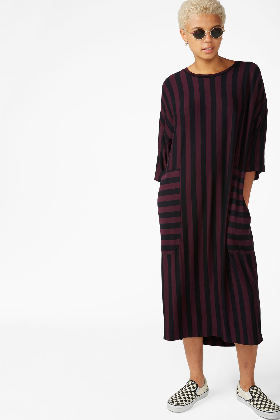 Model front image of Monki oversized t-shirt dress in red