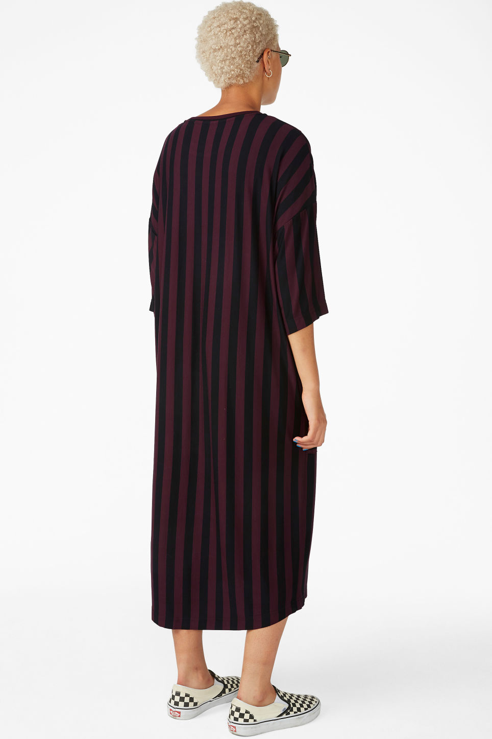 Model back image of Monki oversized t-shirt dress in red
