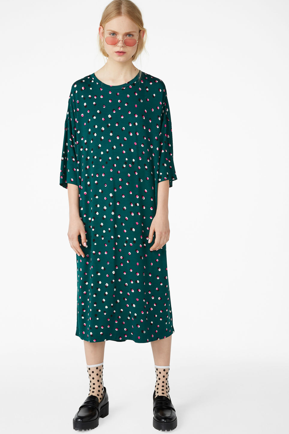 Model front image of Monki oversized t-shirt dress in green