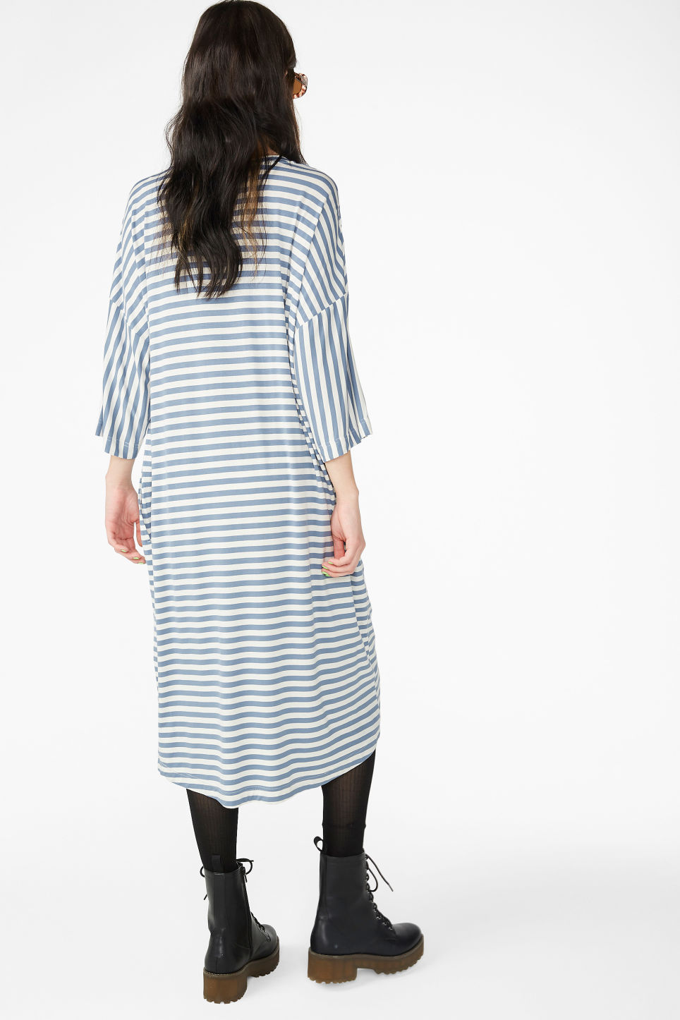 Model back image of Monki oversized t-shirt dress in blue