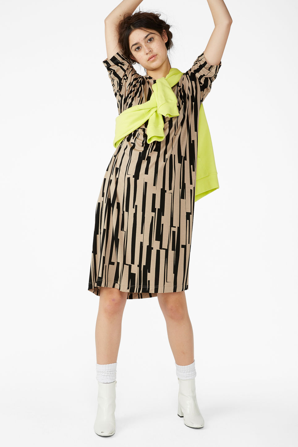 Model front image of Monki oversized t-shirt dress in beige