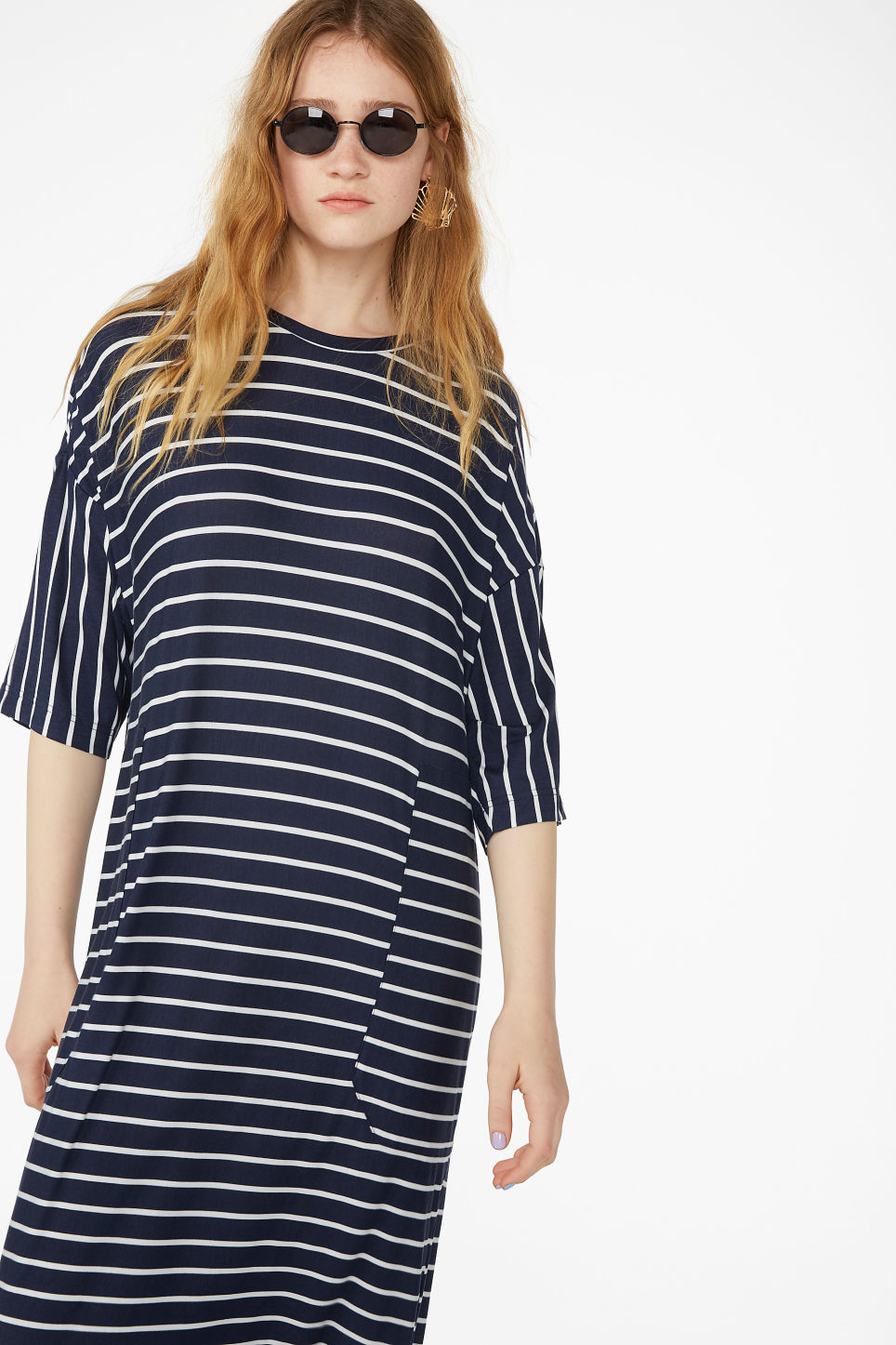 Model front image of Monki oversized t-shirt dress in blue