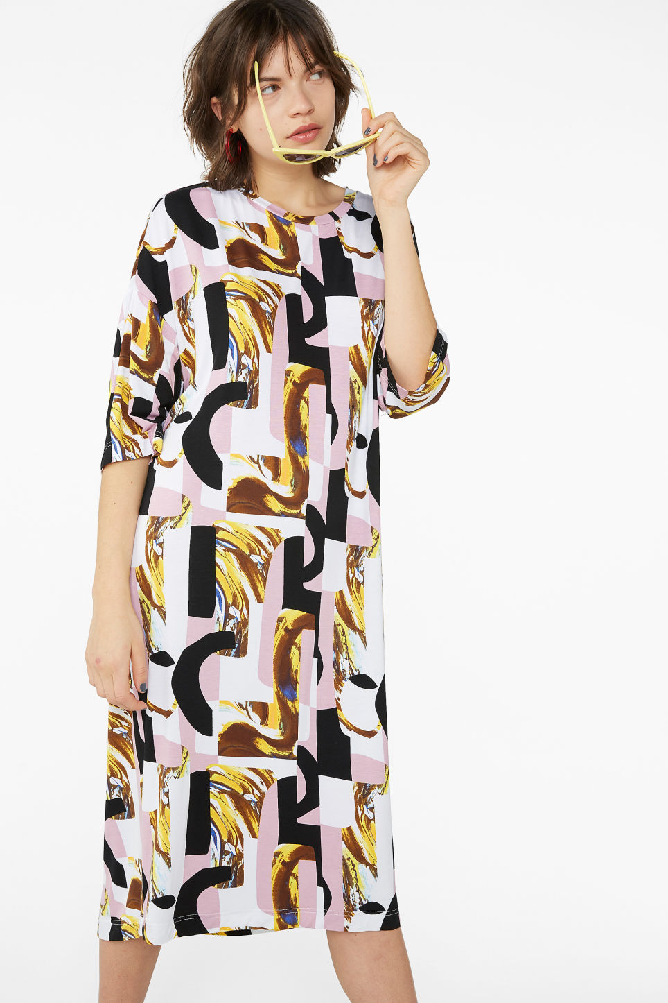 Model front image of Monki oversized t-shirt dress in pink