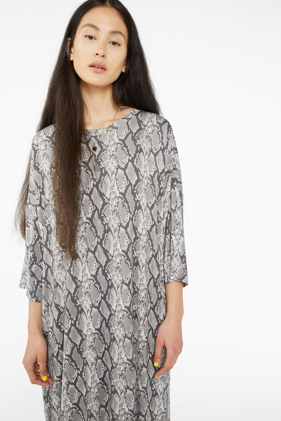 Model front image of Monki oversized t-shirt dress in grey