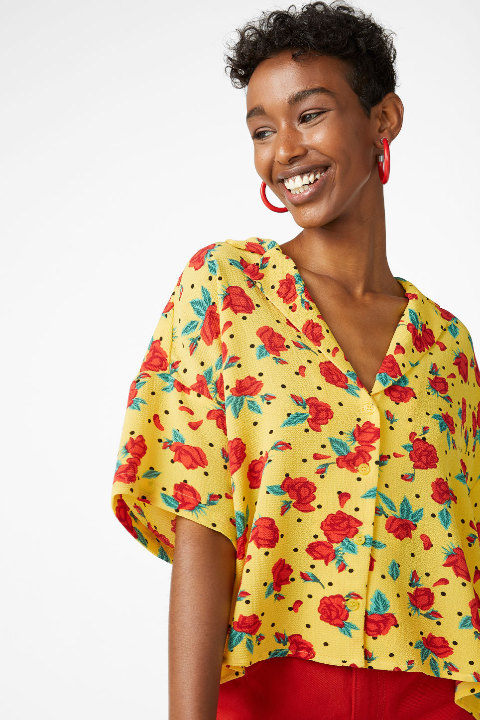 Model front image of Monki short-sleeved blouse in yellow