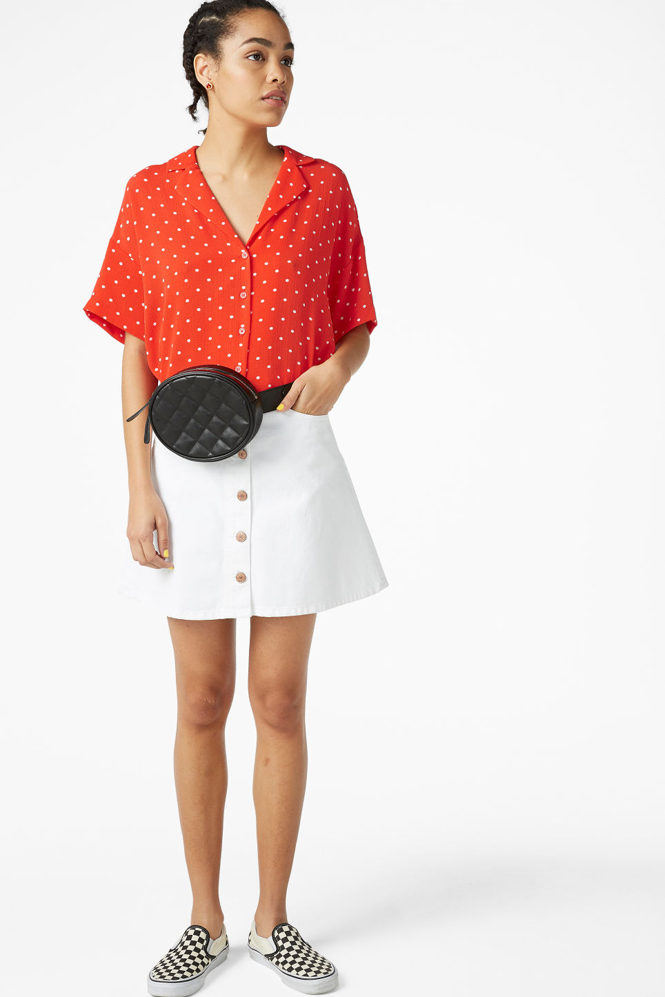 Model side image of Monki short-sleeved blouse in red