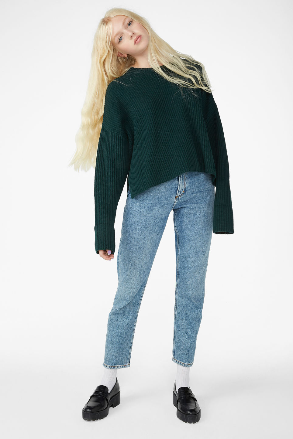 Model front image of Monki knit sweater in green