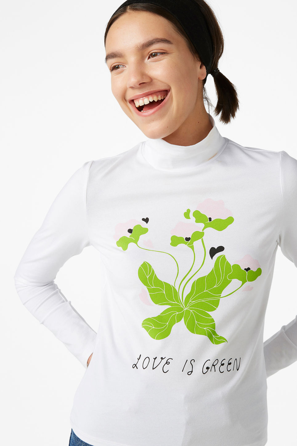 Model side image of Monki long-sleeved top in white