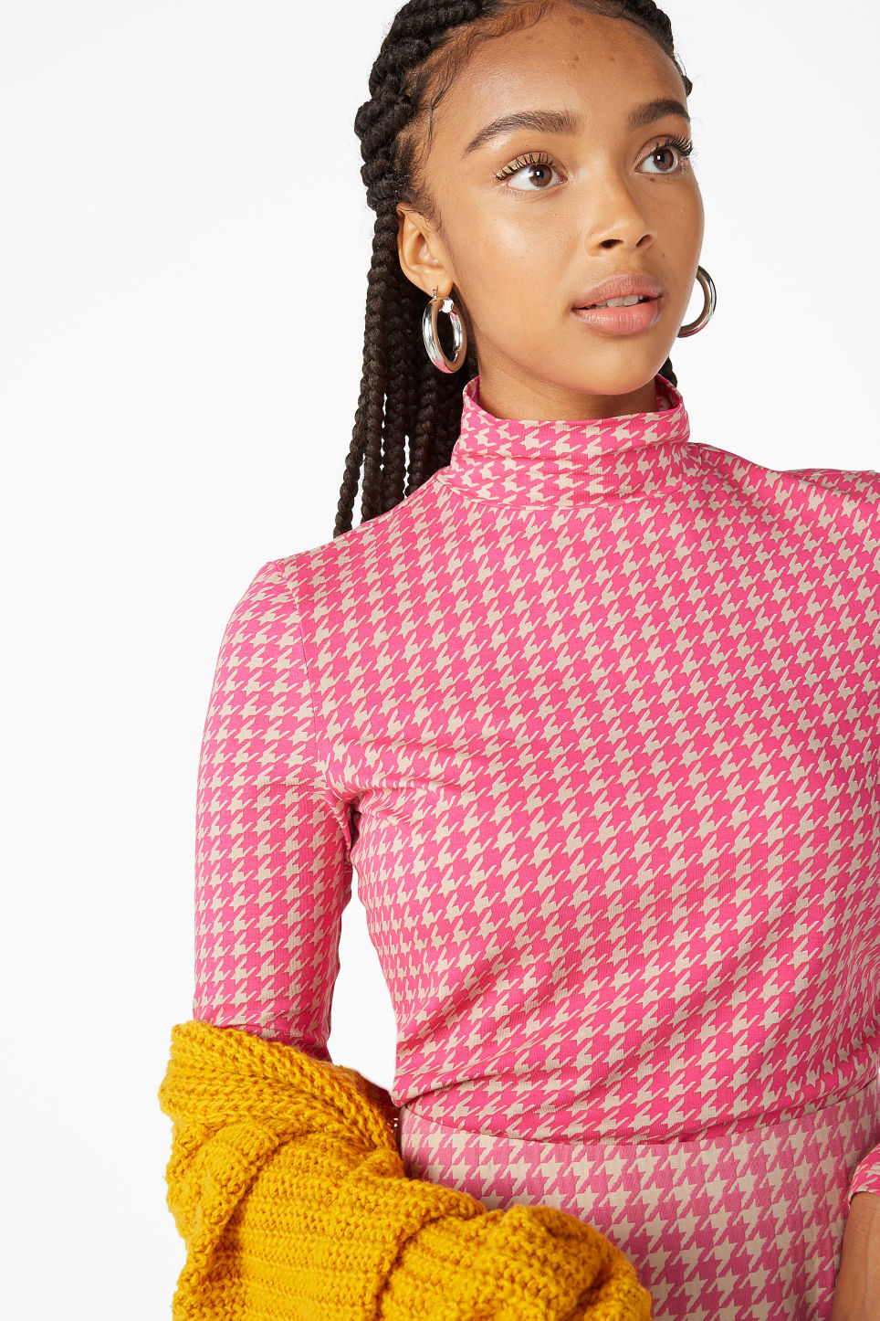 Model front image of Monki long-sleeved turtleneck in pink