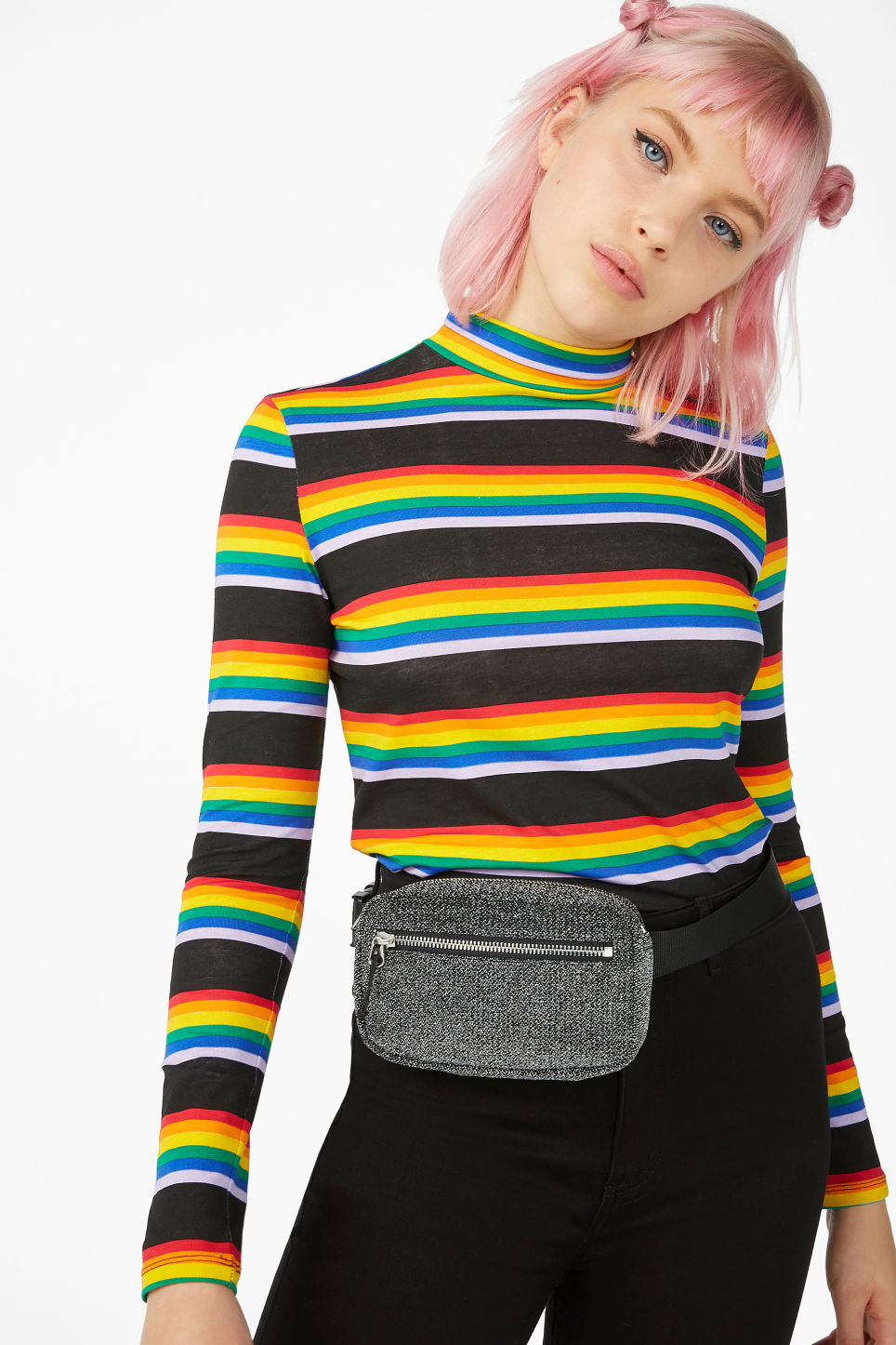 Model front image of Monki long-sleeved turtleneck in black