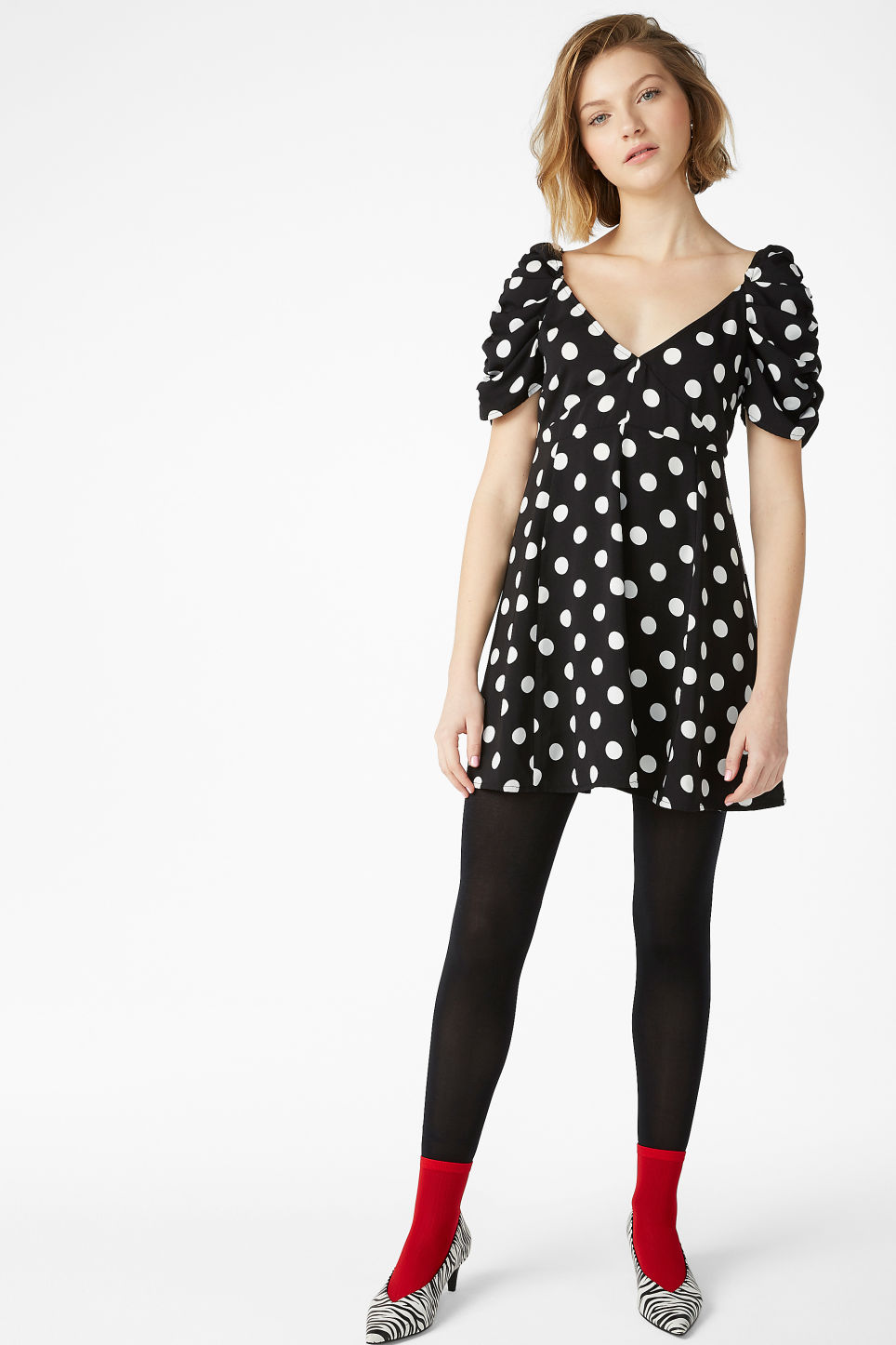 Model front image of Monki polka dot dress in black