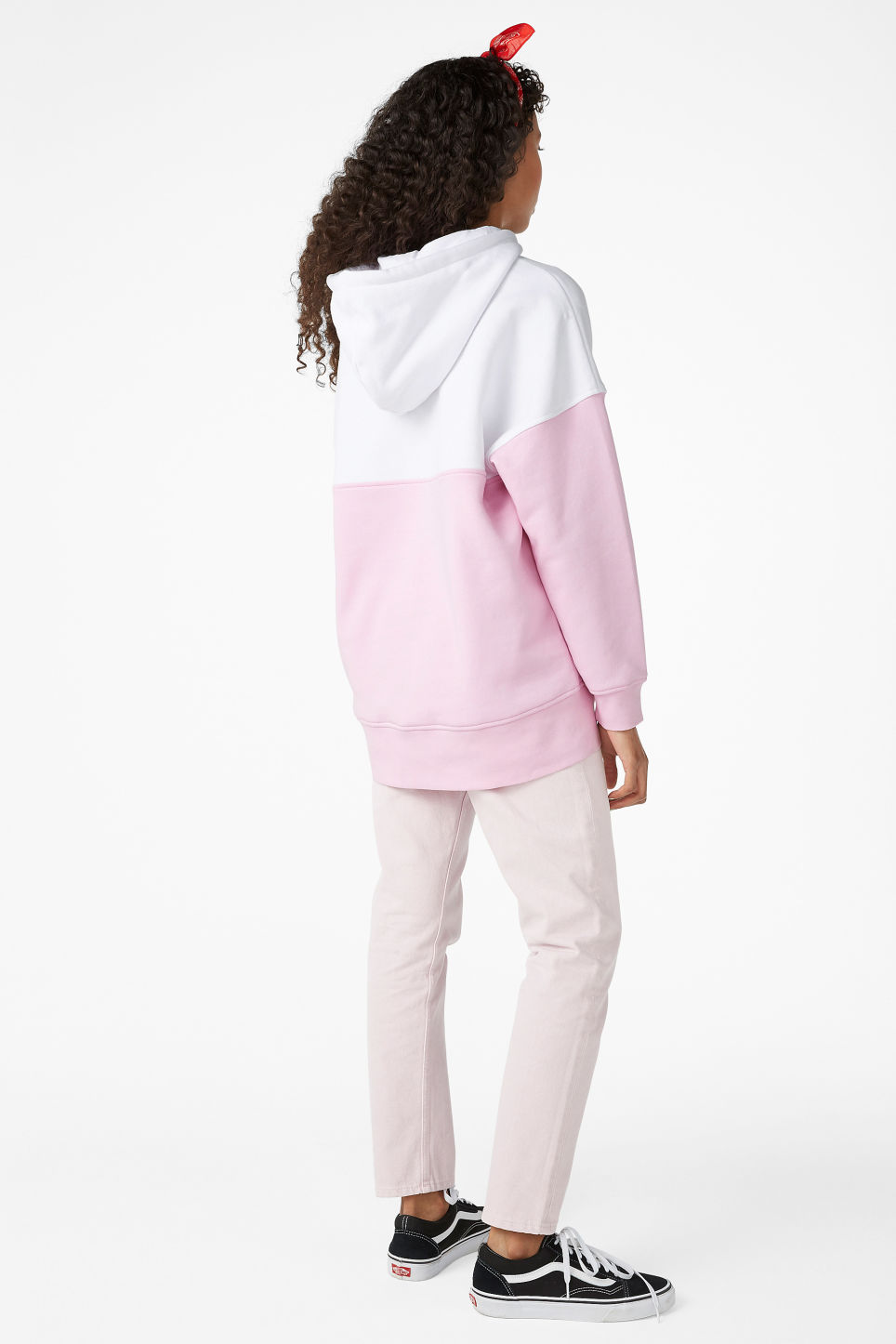 Model back image of Monki oversized hoodie in pink