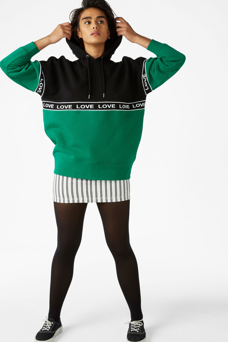 Model front image of Monki oversized hoodie in green