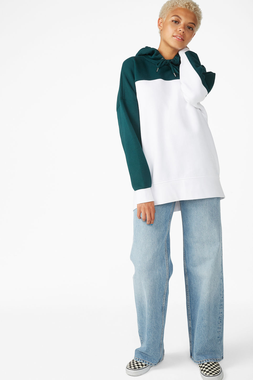 Model side image of Monki oversized hoodie in green