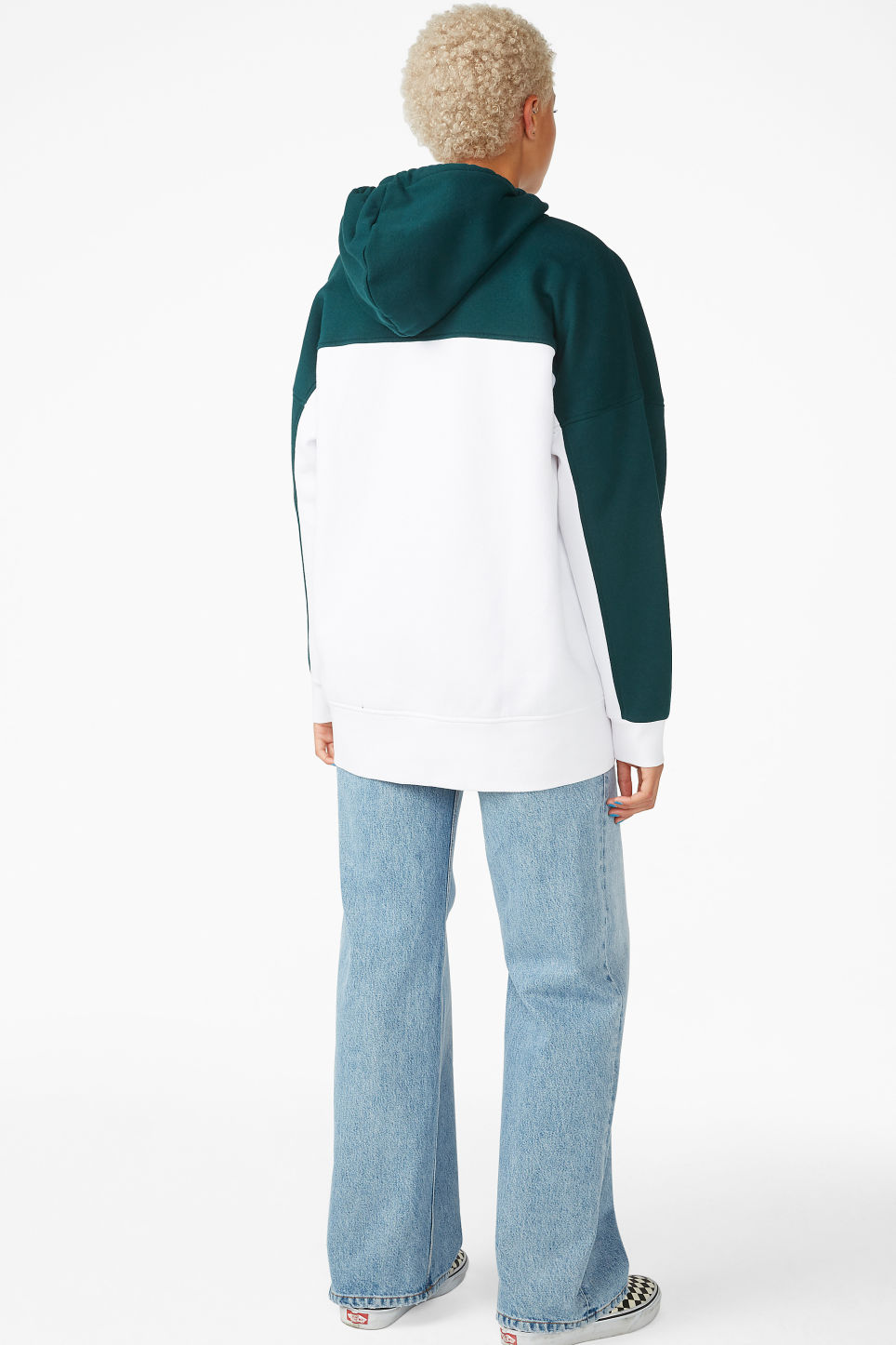 Model back image of Monki oversized hoodie in green