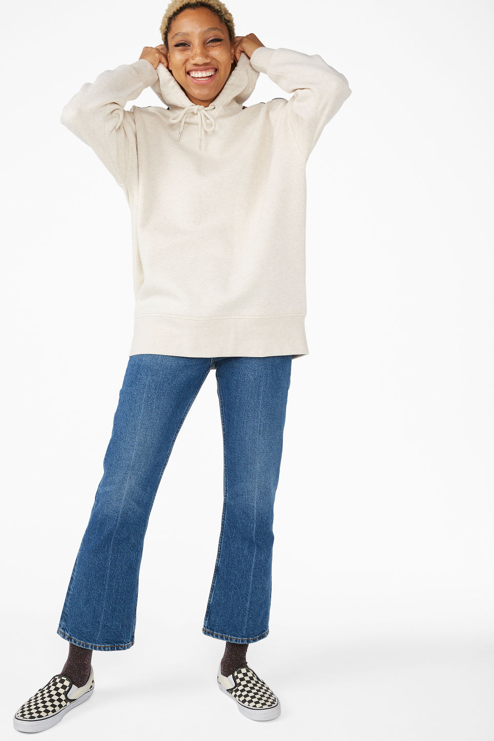 Model side image of Monki oversized hoodie in white