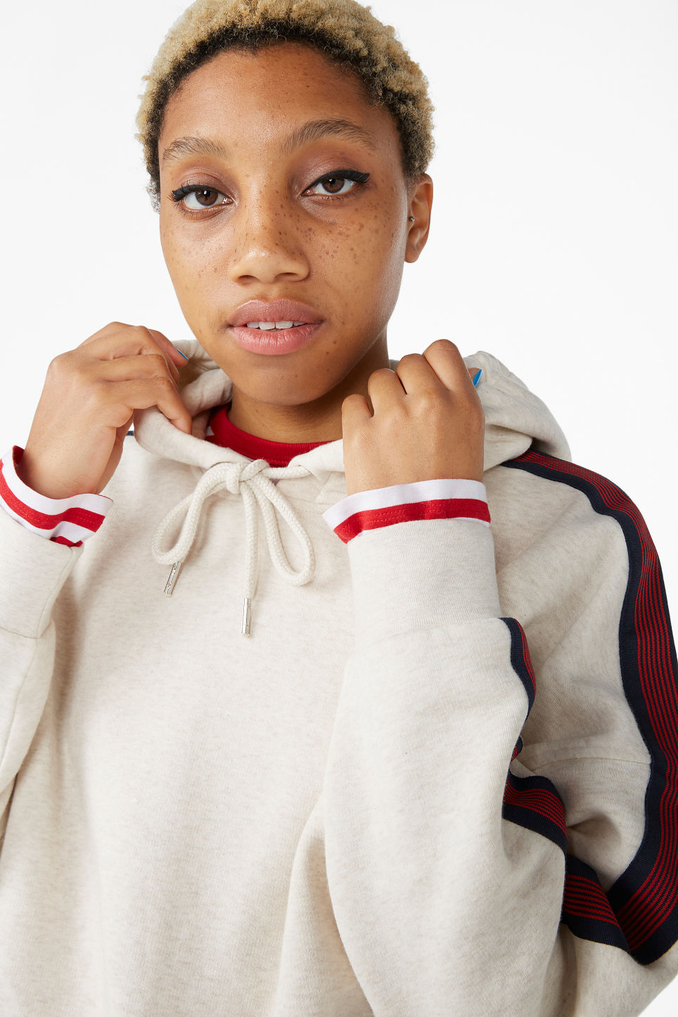 Model front image of Monki oversized hoodie in white