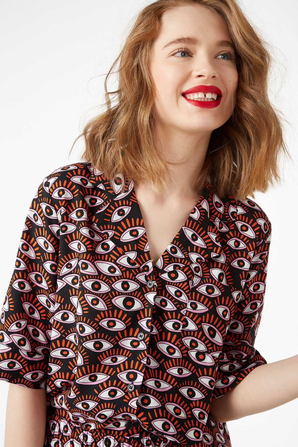 Model front image of Monki button-up blouse in black