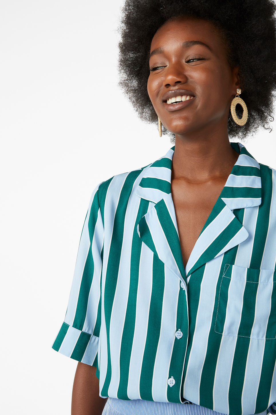 Model front image of Monki button-up blouse in white