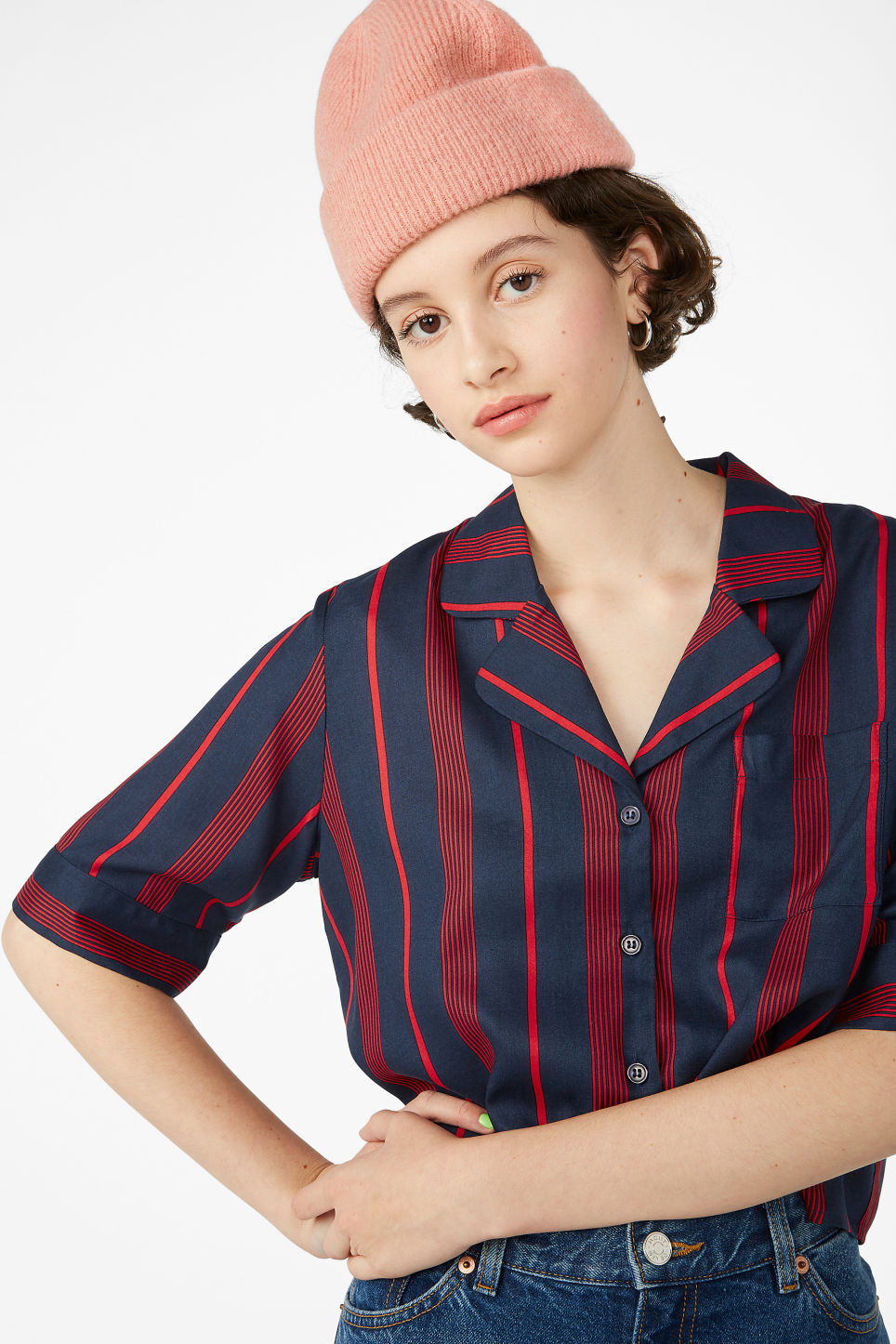 Model front image of Monki button-up blouse in blue