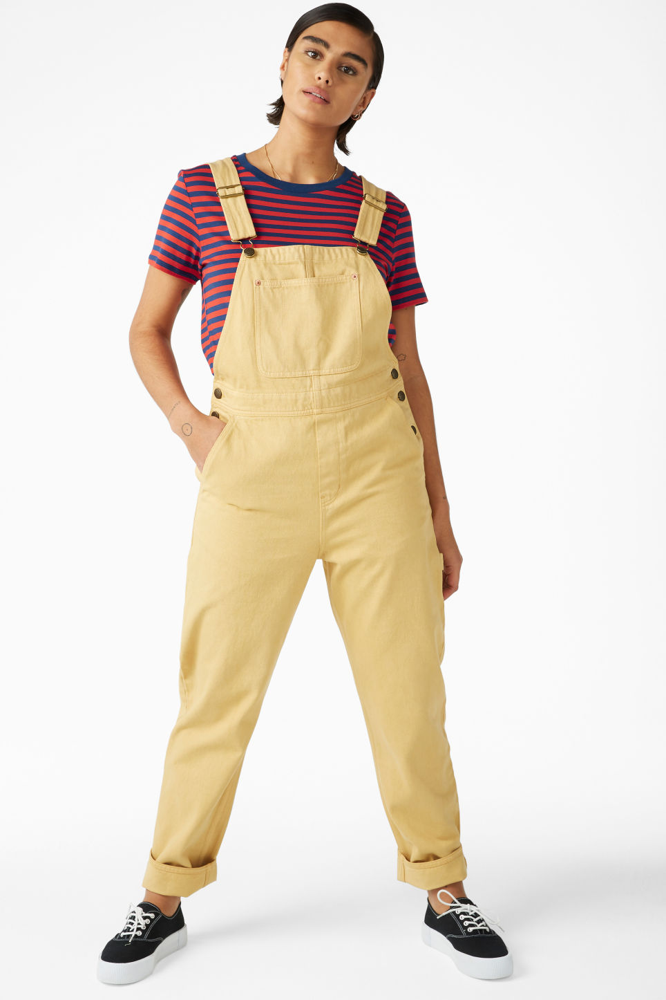 Model front image of Monki denim dungarees in yellow