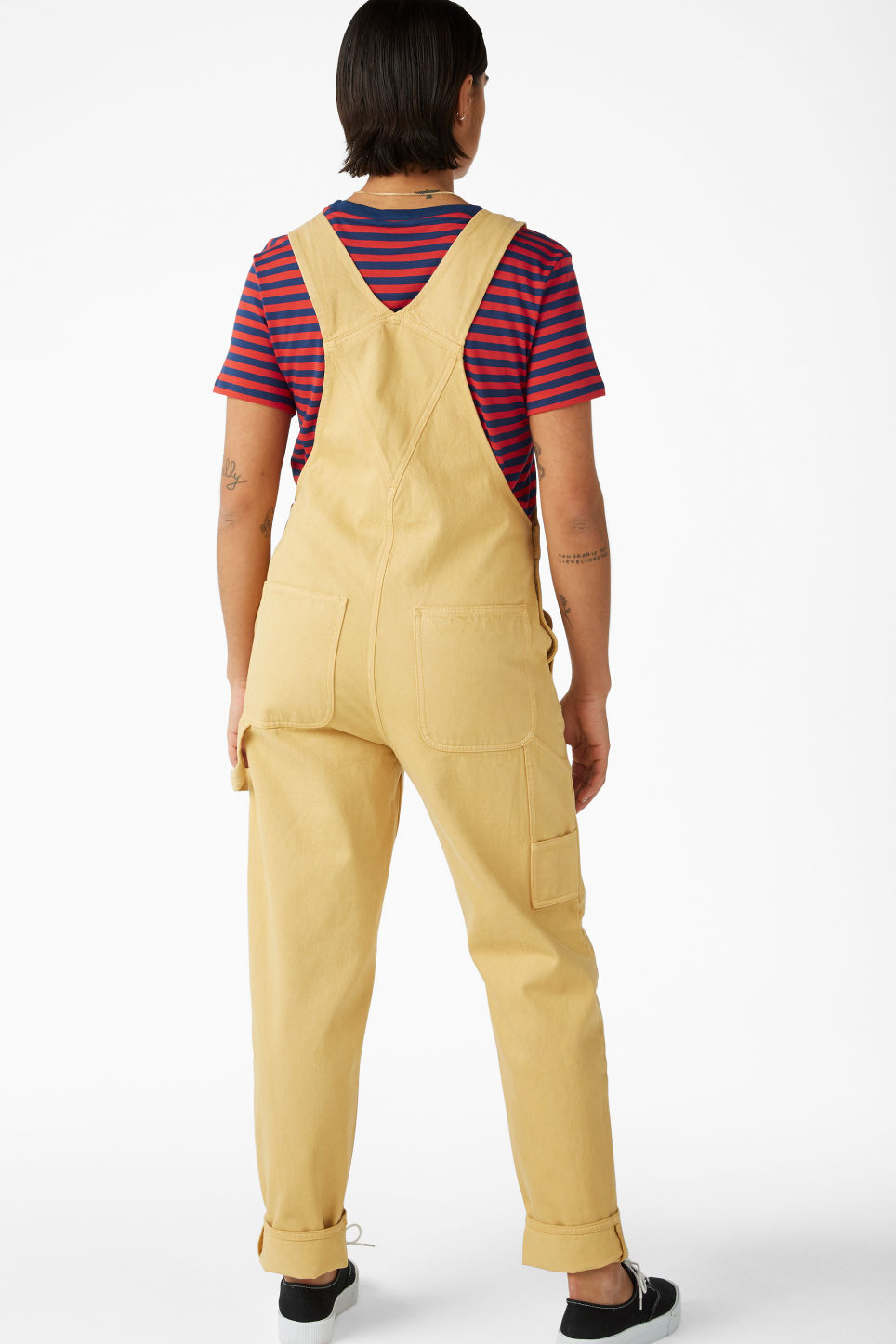 Model back image of Monki denim dungarees in yellow