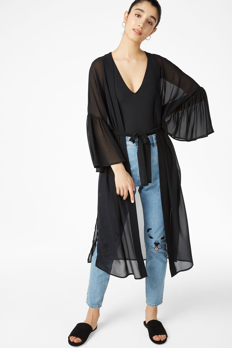 Model front image of Monki flowy kaftan in black