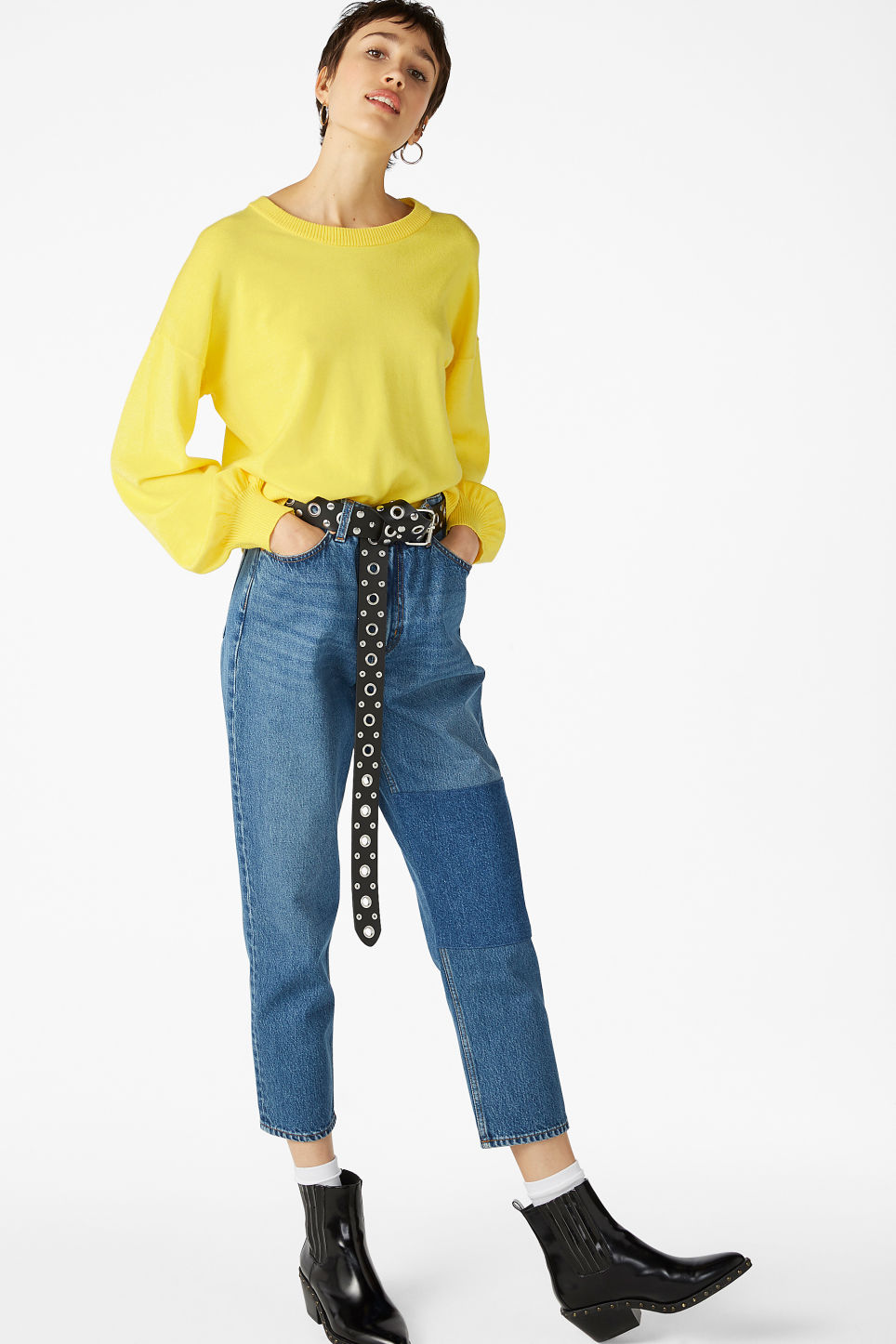 Model front image of Monki knitted sweater in yellow