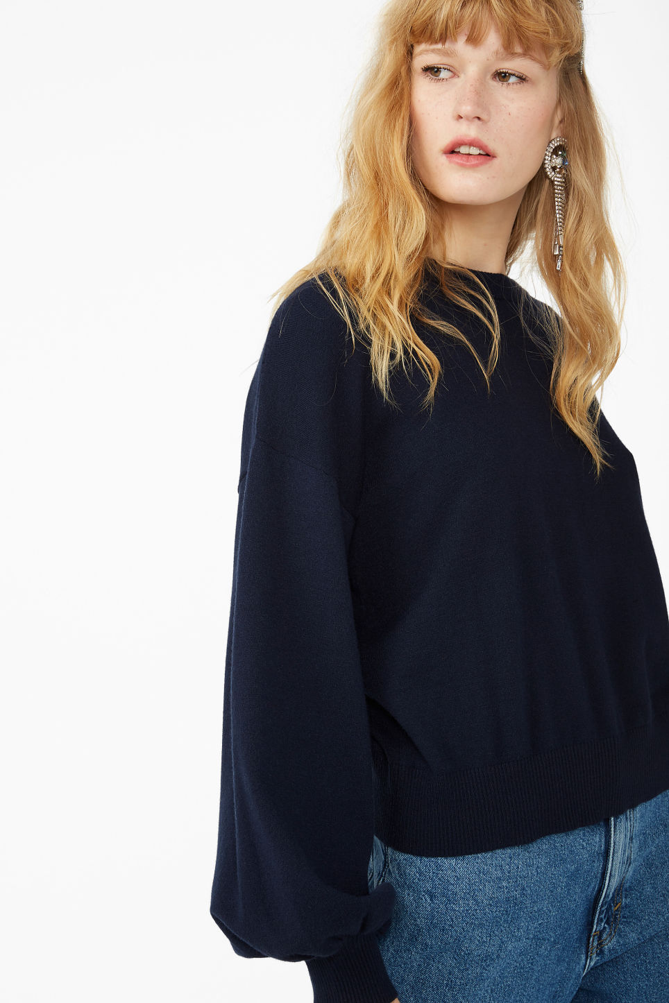 Model front image of Monki balloon sleeved sweater in blue