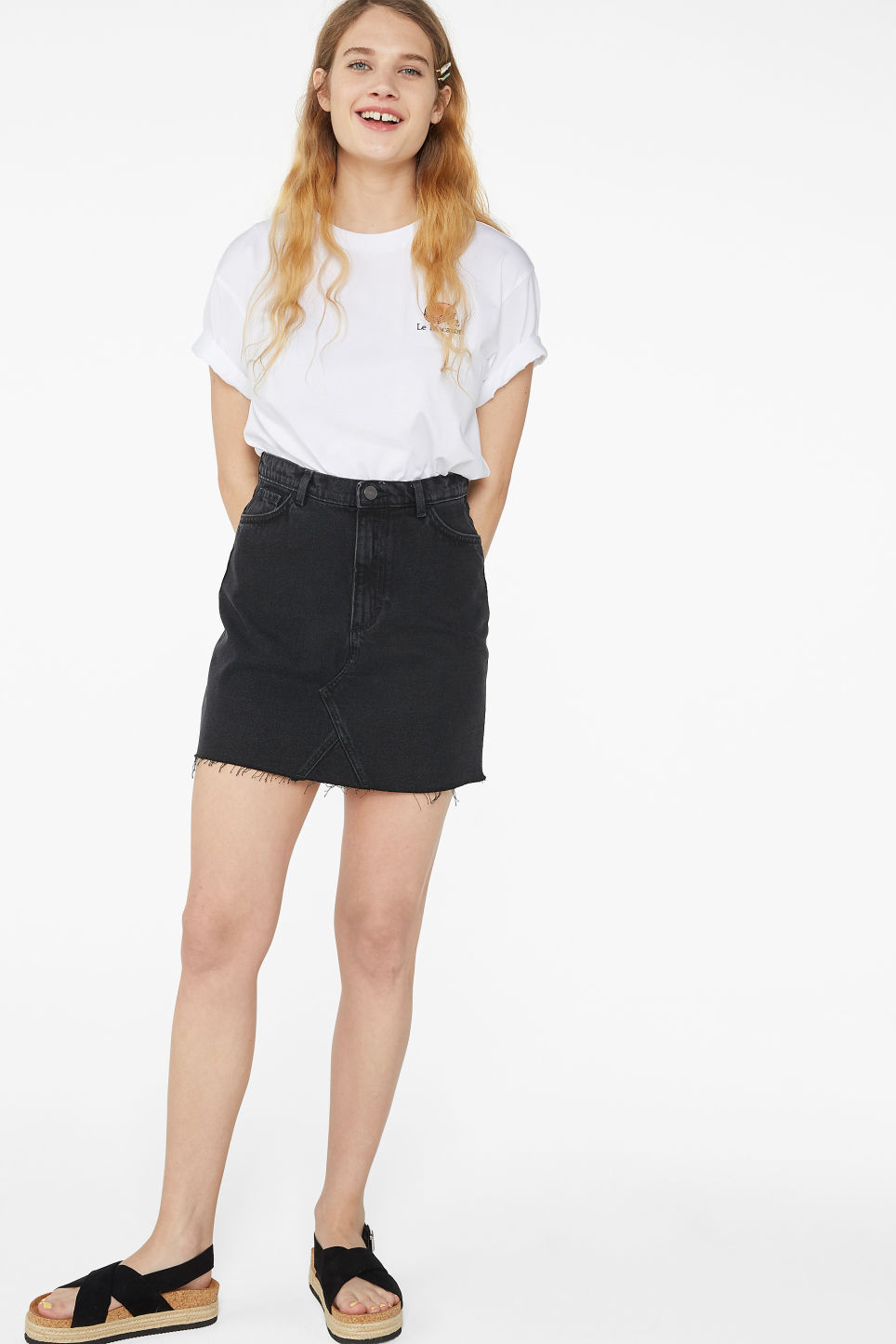 Model front image of Monki denim mini skirt  in black