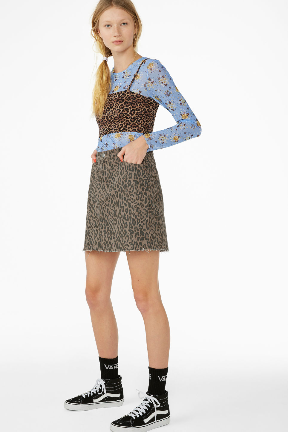 Model front image of Monki denim mini skirt  in beige