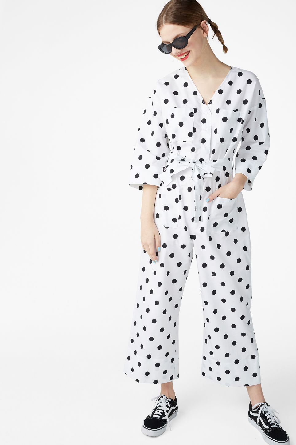 Model front image of Monki v-necked jumpsuit in white