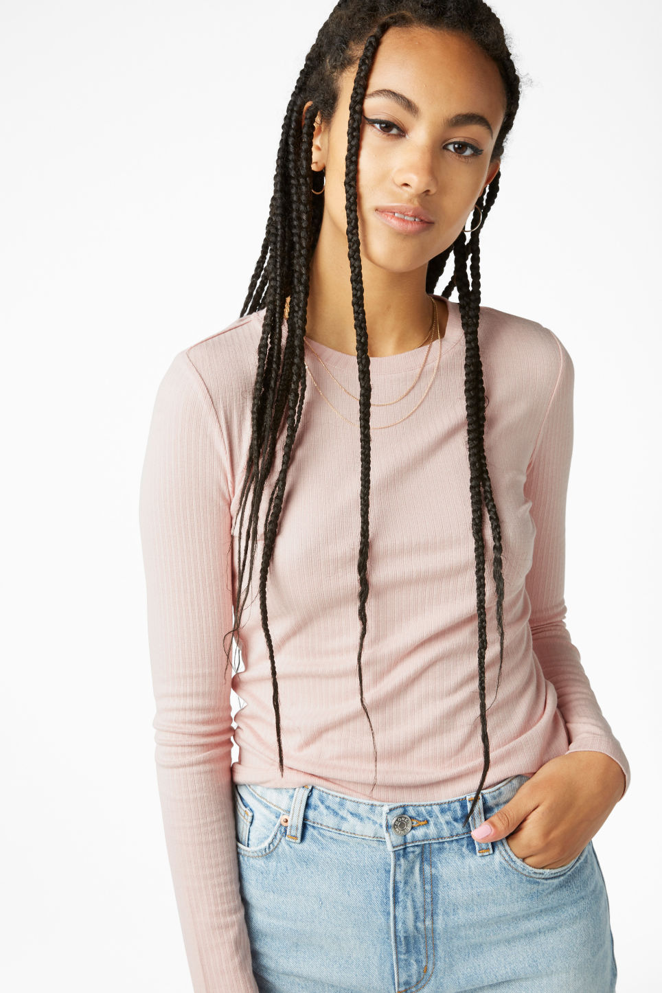 Model front image of Monki long-sleeved ribbed top in orange