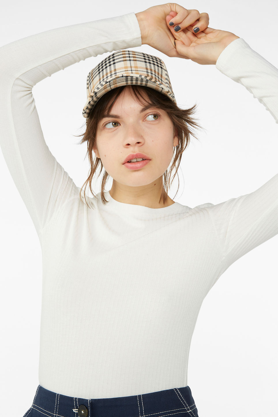 Model front image of Monki long-sleeved ribbed top in white