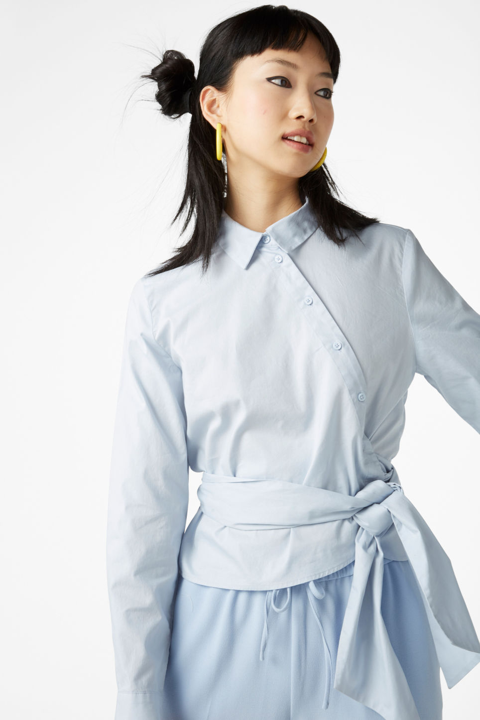 Model front image of Monki cotton blouse in blue